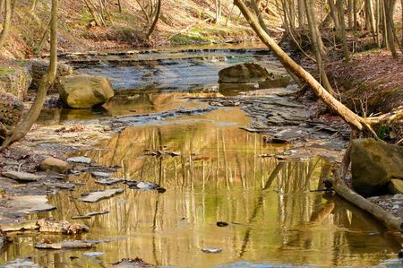 cataract: Placid creek and small cataract in a scenic ravine Stock Photo