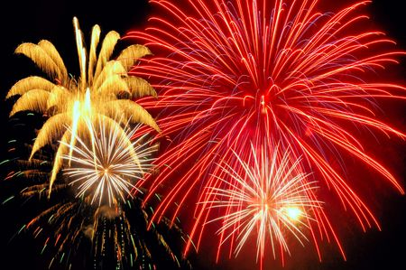 firework display: Bursts of gold, white, and red fireworks light up the night sky
