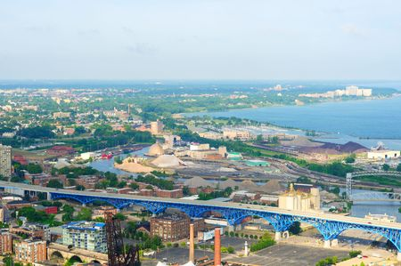 erie: Aerial view of Cleveland Ohio looking west over the industrial Flats and Lake Erie shoreline