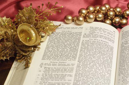 ルーク: 金の装飾とルーク 2 のクリスマスの通路に聖書を開く