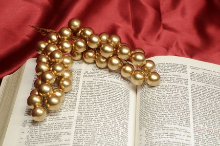 Bible open to the Christmas passage of Luke 2 with springs of gold berries or grapes photo