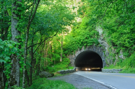 Headlights emerging from a tunnel in Great Smoky Mountains National Park Stock Photo - 9666531