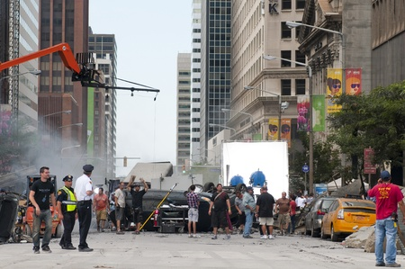 blockbuster: Cleveland - August 17, 2011: Production of the blockbuster movie The Avengers on a blocked-off Cleveland street.
