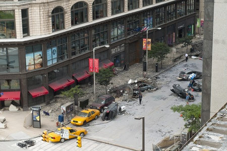 blockbuster: Cleveland - August 17, 2011: Production of the blockbuster movie The Avengers has turned a Cleveland street into a disaster zone.