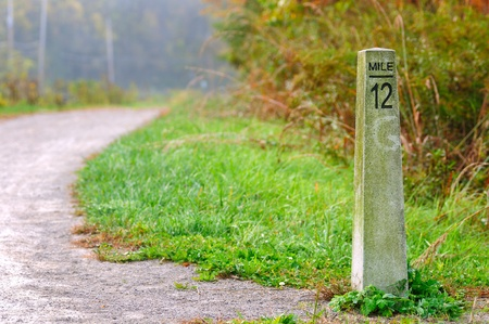 mile: Stone mile marker on a hikingjogging trail