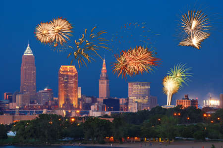 Fireworks going off over downtown Cleveland, Ohio Stock Photo