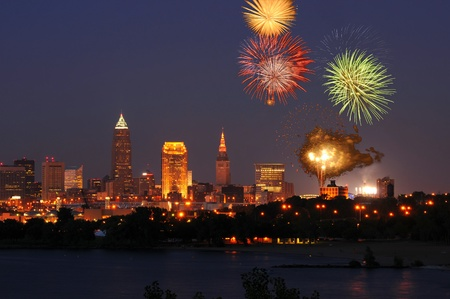 Fireworks burst over downtown Cleveland, Ohio Stock Photo - 13552346