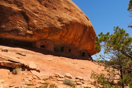 huddling: Ancient cliff dwellings huddling under a massive dome of rock