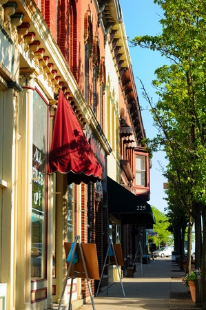 Medina, Ohio - May 19, 2012: Shops and businesses on South Court Street in Medina, Ohio, get ready for a busy Saturday in the historic center of this small midwestern city. Editorial