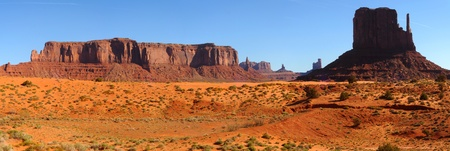 Panorama of Monument Valley, Arizona, with the the West Mitten at right photo