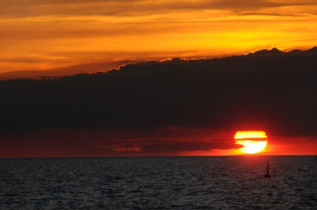 erie: Transit of Venus across the sun, as it sets over Lake Erie