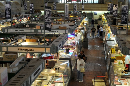 venerable: Cleveland, Ohio - June 27, 2012: Customers begin to arrive early at the the famed West Side Market, which is celebrating its centennial in 2012.