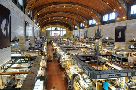 Cleveland, Ohio - June 27, 2012: The famed West Side Market, celebrating 100 years of continuous operation in 2012, opens for business in the early morning.