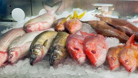 escamas de peces: Surtido de pescado fresco en hielo en un mercado Foto de archivo