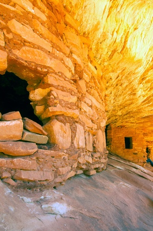 Close view of an ancient Anasazi Indian cliff dwelling photo