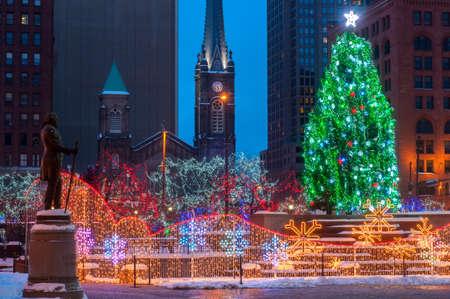 seasonal light display: Christmas lighting display in Cleveland Ohio