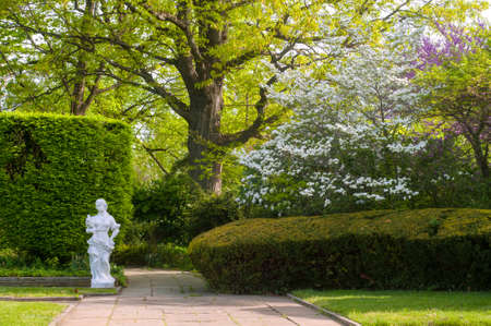 statuary garden: A section of a Cleveland city garden with statuary and flowering trees in spring