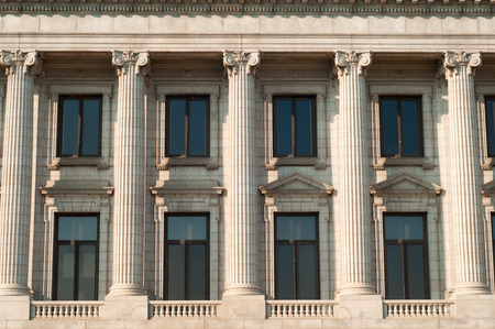light columns: Classical columns on the old courthouse in Cleveland Ohio Stock Photo