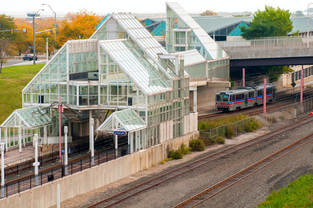 rta: Cleveland, OH - October 5 A rapid transit train approaches the North Coast station in Cleveland, Ohio   This station on the RTA Waterfront Line provides access to the Rock and Roll Hall of Fame and the Great Lakes Science Center