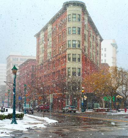 Heavy snow falls on the streets of downtown Syracuse New York
