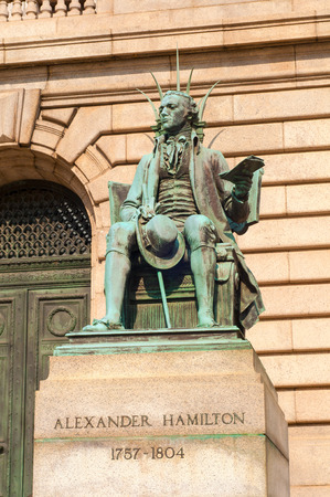 alexander: Statue of Alexander Hamilton in front of the Cuyahoga County Courthouse in Cleveland Ohio Stock Photo