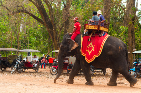 Siem Reap, Cambodia - February 17, 2014  Elephant rides are a popular attraction for tourists at the Bayon temple area of Angkor Wat, near Seam Reap, Cambodia