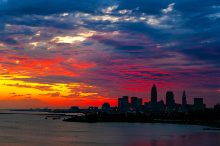 ohio: Spectacular sunrise clouds over downtown Cleveland Ohio