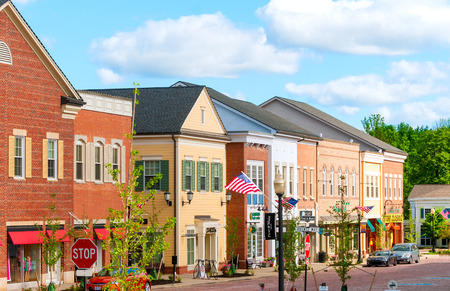 small town: HUDSON, OH - JUNE 14, 2014: Hudsons new shopping district, First and Main