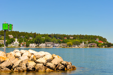 mackinac: The harbor at Mackinac Island, with a signal box on the end of the breakwall at left Stock Photo