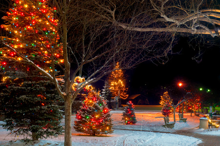 holiday lights display: Christmas lights and displays in a Chagrin Falls, Ohio, park