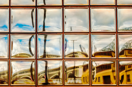 painterly: A glass-block window provides a painterly view of Cleveland