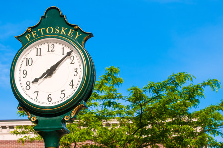 quaint: Old-time clock in the quaint Gaslight business district of Petoskey, Michigan