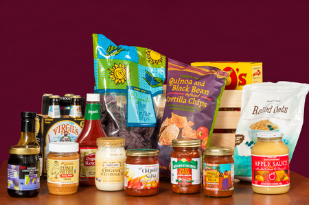 peanut butter and jelly: TWINSBURG, OH, USA - JANUARY 17, 2015: An assortment of grocery products with the Trader Joe