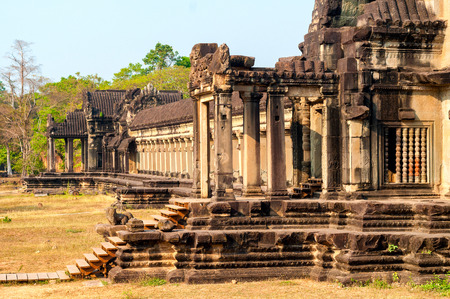 perimeter: The western perimeter gallery of the temple complex Angkor Wat in Siem Reap Cambodia