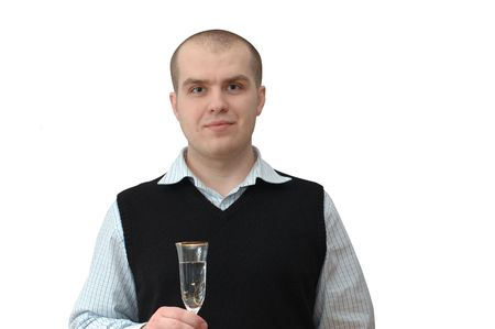 Man in shirt and waistcoat holding tall wine glass in one hand photo
