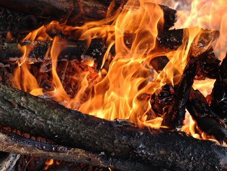 Close-up photo of wood and coal burning in fire Stock Photo - 1066375