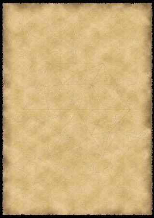 oud perkament met kinnebakspek, ruw randen en dunne lijn diamant tekening