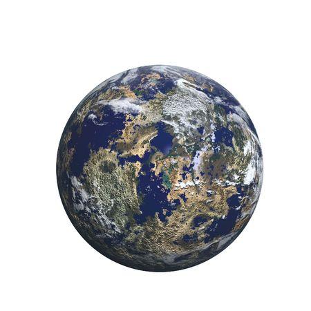 aarde zoekt planeet maken op wit Stockfoto