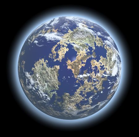 earth looking planet render with atmosphere withoutl shadow photo