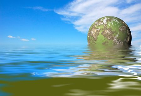 futuristic green planet rise photo