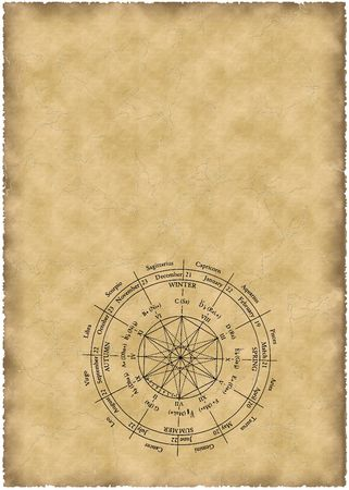 old parchment with zodiac Stock Photo - 494308