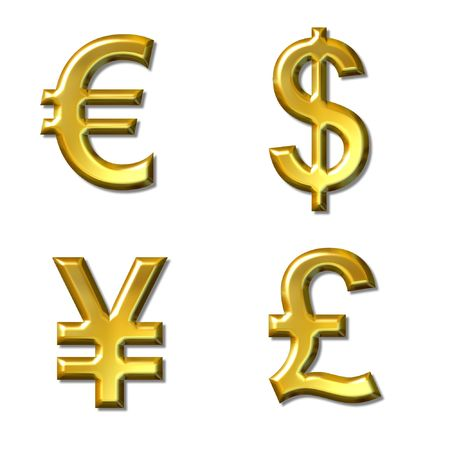 1 euro: euro, dollar, yen, pound symbols with gold bevel - 4 in 1