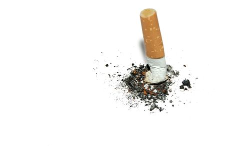 cancerous: Stop smoking  background with copyspace - stub of cigarette with ash isolated on white