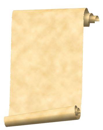 白で隔離されるヴィンテージ スクロール紙テクスチャ