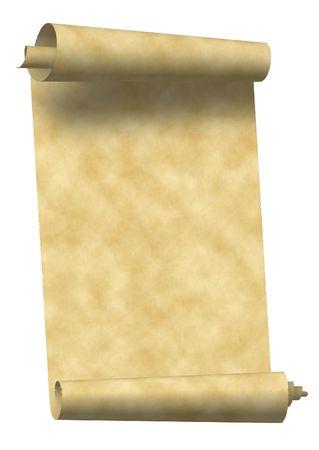 白で隔離される不規則を両端に持つ高齢者のスクロール グランジ紙の背景 写真素材