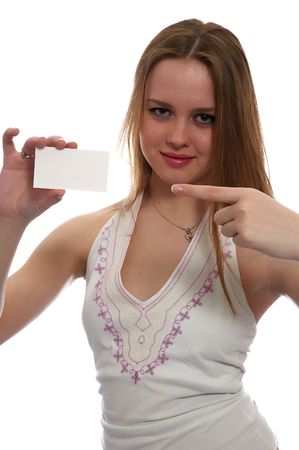 Girl with notecard Stock Photo - 906968