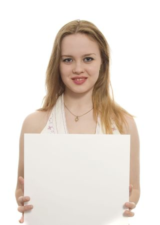 Young  woman holding a sheet of paper Stock Photo - 906971
