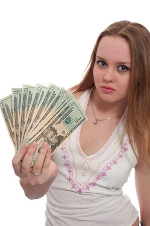 women with dollar bank notes in hand offer it to viewer. Focus on money Stock Photo - 906973