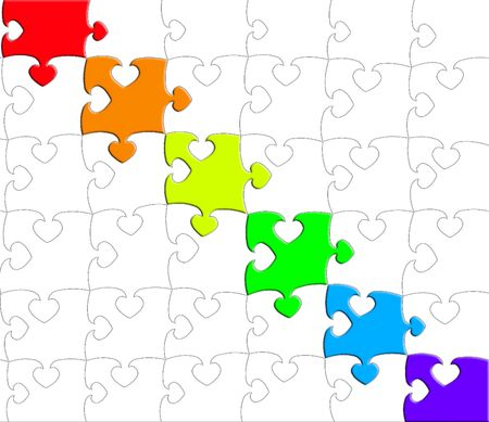 Rainbow puzzle Stock Photo