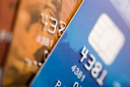 Credit cards background. Small deep of focus Stock Photo - 1093358